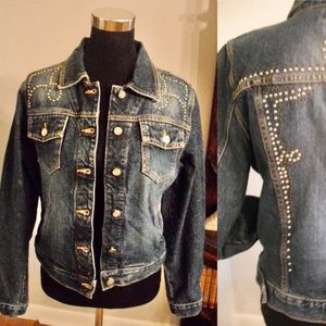 Vintage Denim Trucker Jacket Studded Bongo Sz M
